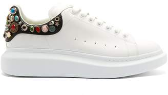 Alexander McQueen Embellished raised-sole low-top leather trainers