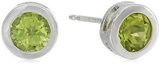 Sterling Silver Genuine Swiss Topaz 5mm Bezel Set December Birthstone Stud Earrings