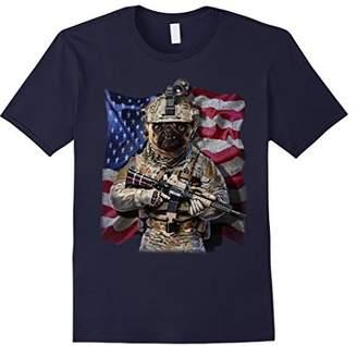 Commando USA America Patriot Grumpy Pug Dog as Army T-Shirt