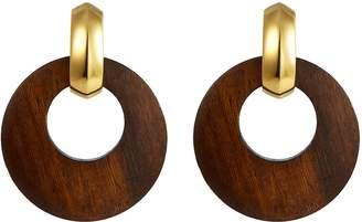 Kenneth Jay Lane Detachable burnt effect wood hoop clip earrings