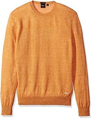 HUGO BOSS BOSS Orange Men's Melange Linen Crew Neck Sweater