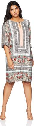 Sandra Darren Women's Plus Size 3/4 Bell Sleeve Printed Ity Sheath Dress, Coral/Ivory, 18W