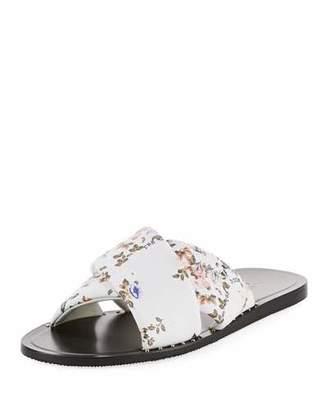 Rag & Bone Keaton Floral-Print Flat Leather Slide Sandal