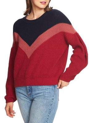 1 STATE Plush Luxe Chevron Cotton Sweater