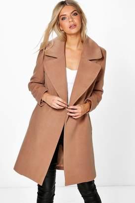boohoo Poppy Oversized Collar Wool Look Coat