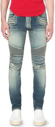 Balmain Biker distressed slim-fit skinny jeans $895 thestylecure.com