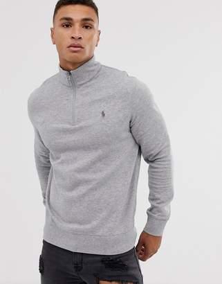 Polo Ralph Lauren Half Zip Sweatshirt In Grey Marl