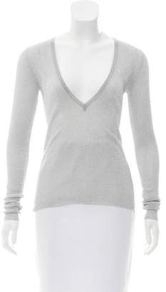 Michael Kors Metallic V-Neck Sweater