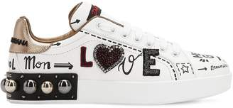 Dolce & Gabbana 20mm Portofino Studded Leather Sneakers