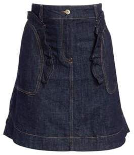 Carven Denim Cotton Flare Skirt