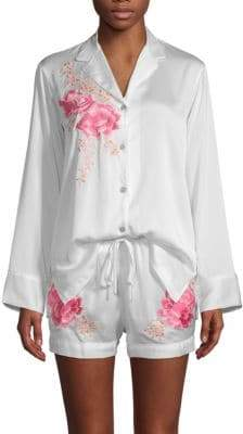 Natori Two-Piece Embroidered Floral Shorty Pajama Set