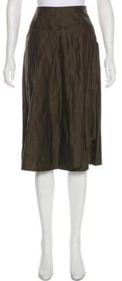 Max Mara Virgin Wool Knee-Length Skirt Green Virgin Wool Knee-Length Skirt