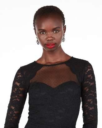 Express Petite Long Sleeve Lace Sheath Dress