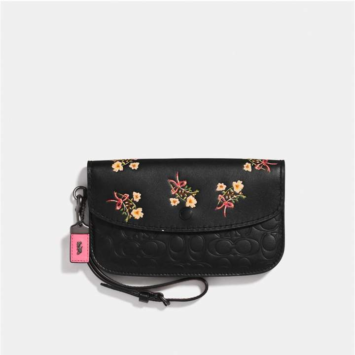 Coach New YorkCoach Clutch In Signature Leather With Floral Bow Print - BLACK/BLACK COPPER - STYLE