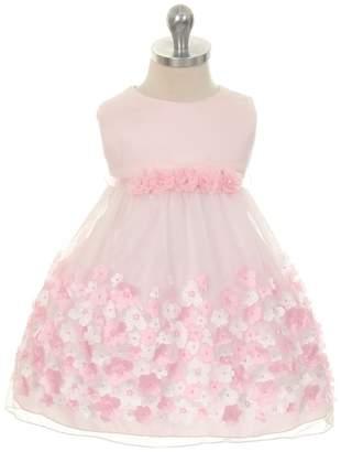 Kids Dream Olivia- Baby Mesh Dress W/ Taffeta Flowers Pink
