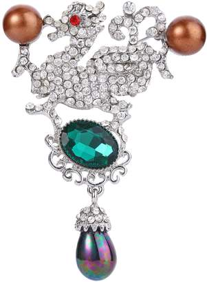 Dragon Optical Ever Faith Silver-Tone Baby Simulated Pearl Clear w/ Green Austrian Crystal Brooch N02780-1