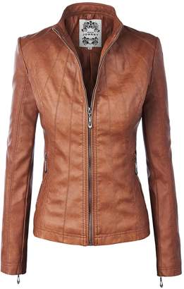 Moto Lock and Love WJC877 Womens Panelled Faux Leather Jacket L Camel