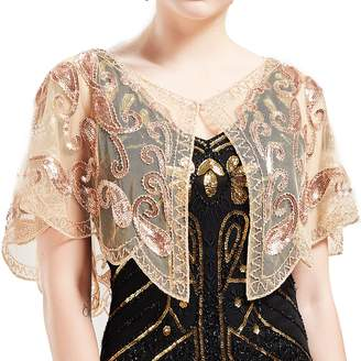 BABEYOND 1920s Shawl Wraps Sequin Shawl Beaded Evening Cape Bridal Shawl Bolero Flapper Cover Up