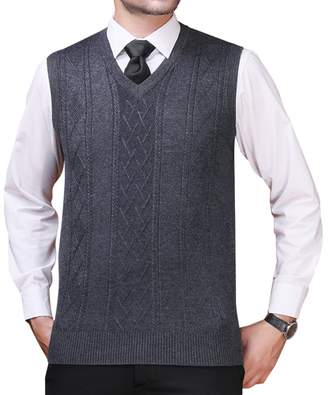 a8ec30f11c1a19 Zicac Men s Argyle Sweater Vest V-neck Sleeveless Waistcoat Business  Knitwear ...