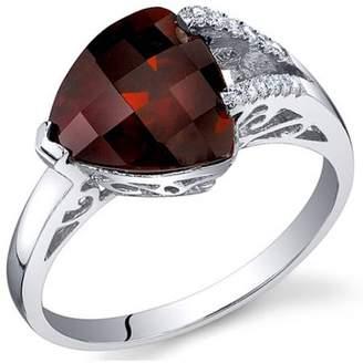 Oravo 3.00 Carat T.G.W. Garnet Rhodium-Plated Sterling Silver Engagement Ring