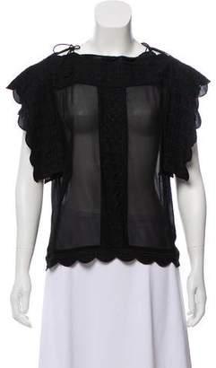 Etoile Isabel Marant Scalloped Short Sleeve Top