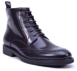 French Connection Bordeaux Leather Wingtip Lace-Up Combat Boot