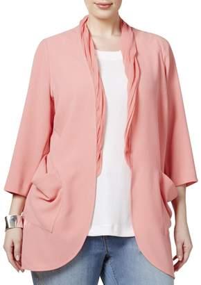 Melissa McCarthy Womens Plus Chiffon Trim Cardigan Top Pink