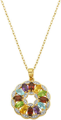 Multi-Gemstone (2-3/4 ct. t.w.) Pendant in 18k Yellow Gold Over Sterling Silver