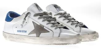 Golden Goose White Leather Superstar Sneakers With Blue And Grey Inserts