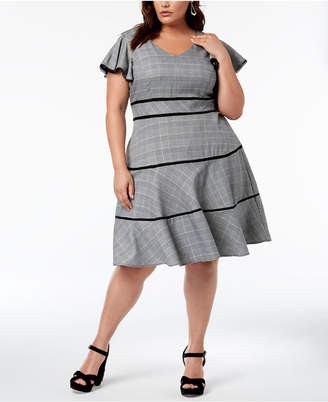 Taylor Plus Size Flutter-Sleeve Fit & Flare Dress