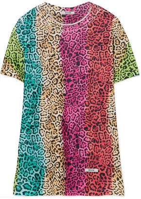 BLOUSE - Leopard-print Cotton-jersey T-shirt - Pink