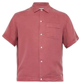 Éditions M.R Editions M.r - Willy Brushed Twill Short Sleeved Shirt - Mens - Burgundy