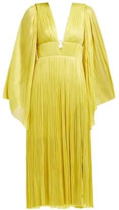 Maria Lucia Hohan Zakiya Plisse Silk Tulle Midi Dress - Womens - Yellow
