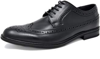 Andrew Marc BRUNO Bruno MARC PRINCE-10 Men's Oxford Modern Classic Brogue Wing-Tip Lace Up Leather Lined Perforated Dress Oxfords Shoes Black Size 7.5