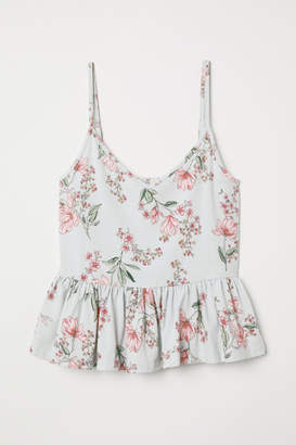 H&M Camisole Top with Flounce - Turquoise