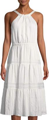 Rebecca Taylor Striped Tiered Midi Dress