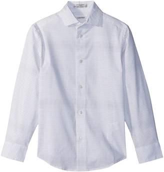 Calvin Klein Kids Dot Plaid Print Long Sleeve Shirt Boy's Clothing