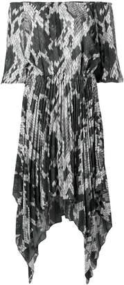 Just Cavalli python-print 'no-shoulder' dress