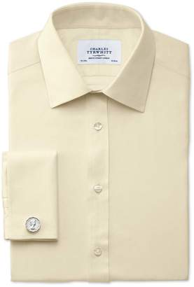 Charles Tyrwhitt Slim Fit Egyptian Cotton Cavalry Twill Yellow Dress Shirt Single Cuff Size 16/35