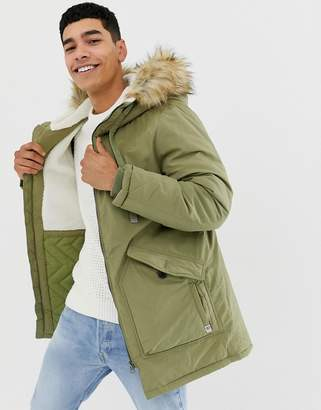 Pull&Bear fleece lined parka in khaki