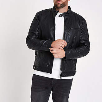 River Island Big and Tall faux leather racer jacket