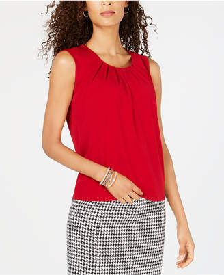 Kasper Petite Pleated-Neck Shell