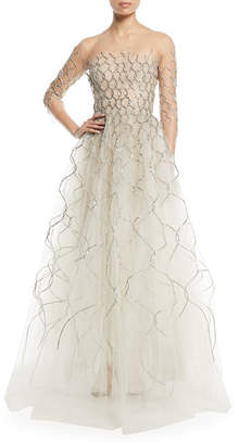 Oscar de la Renta 3/4-Sleeve Lame Embroidered Tulle Evening Gown