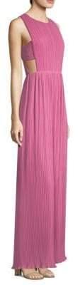 BCBGMAXAZRIA Pleated Chiffon Gown