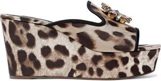 Dolce & Gabbana (ドルチェ & ガッバーナ) - Dolce & Gabbana クリスタル付き レオパードプリント ツイル ウェッジミュール