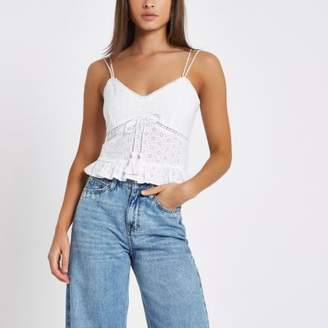 River Island Womens White floral embroidered cami top