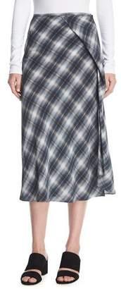 Vince Shadow Plaid Side-Drape A-Line Midi Skirt
