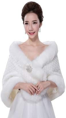 Fenghuavip Faux Fur Wedding Shawl vory Thick Wraps Stoles