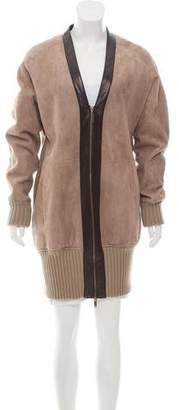 Derek Lam Leather-Accented Shearling Jacket