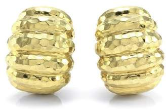 18K Yellow Gold Hammered Semi-Hoop Earrings